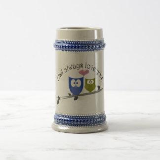 Del búho amor siempre usted, arte lindo de los búh jarra de cerveza