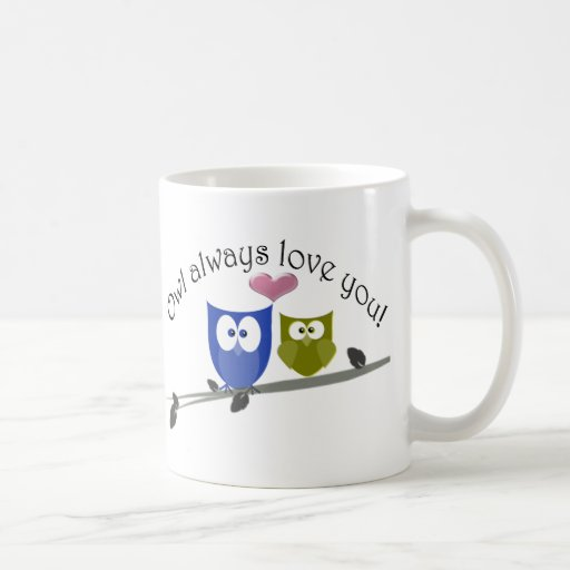 Del búho amor siempre usted, arte lindo de los búh tazas de café