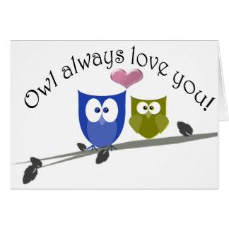 Del búho amor siempre usted, arte lindo de los tarjeta de felicitación