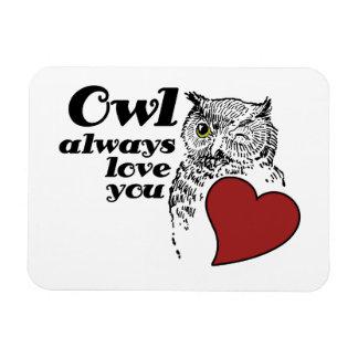 Del BÚHO amor siempre usted Imán De Vinilo