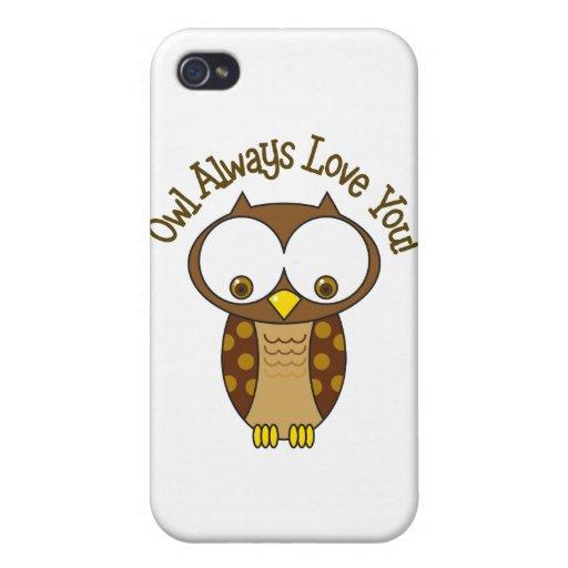 Del búho amor siempre usted iPhone 4 fundas