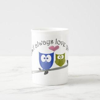 Del búho amor siempre usted, los búhos lindos mult taza de porcelana
