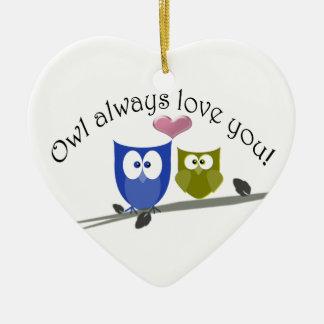 ¡Del búho amor siempre usted Ornamento Ornaments Para Arbol De Navidad