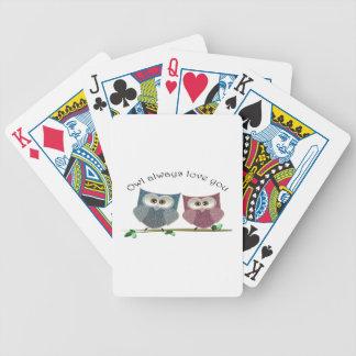 Del búho amor siempre usted, rosado y azul arte li baraja cartas de poker