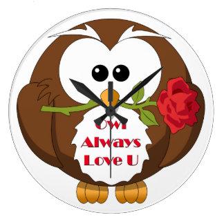 Del búho amor siempre usted tema reloj redondo grande
