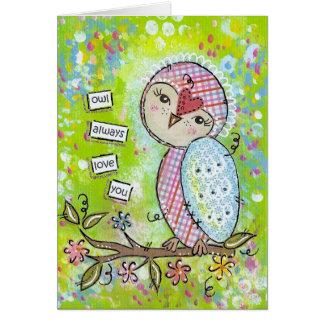 del búho amor siempre usted-verde tarjeta de felicitación