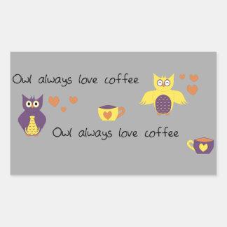 Del búho café del amor siempre pegatina rectangular