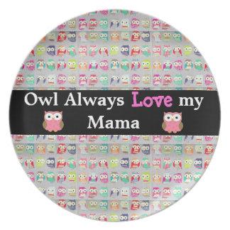 Del búho placa del día de madre de mamá Decorative Platos De Comidas