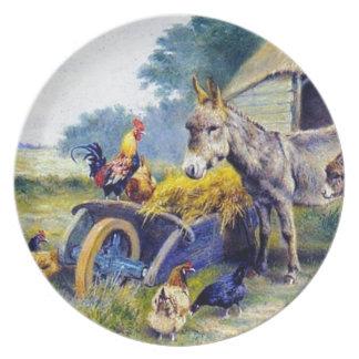 Del burro del gallo del pollo granja ey plato de cena