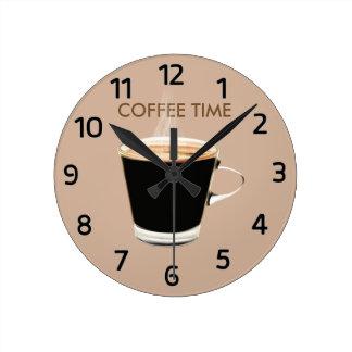 Del café del tiempo reloj de pared también