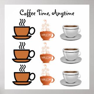 Del CAFÉ del TIEMPO taza del Cappuccino y de café  Póster