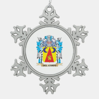 Del-Campo Coat of Arms - Family Crest Snowflake Pewter Christmas Ornament