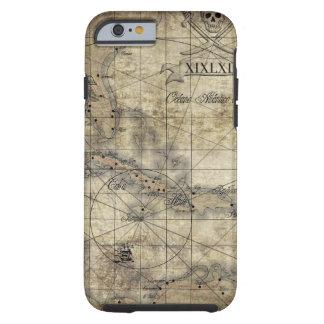 Del Caribe - mapa viejo Funda De iPhone 6 Tough