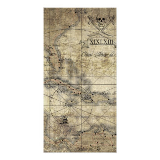 Del Caribe - mapa viejo Tarjeta Fotografica Personalizada