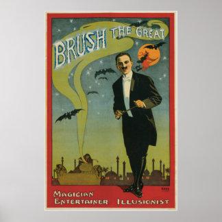 ~ del cepillo el acto mágico del gran vintage del  póster