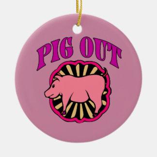 Del cerdo árbol de navidad hacia fuera adorno navideño redondo de cerámica