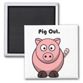 Del cerdo dibujo animado guarro hacia fuera o del  imán cuadrado