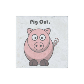 Del cerdo dibujo animado guarro hacia fuera o del  imán de piedra