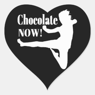 Del chocolate silueta blanca ahora - pegatinas de corazon personalizadas