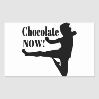 Del chocolate silueta negra ahora - rectangular pegatinas