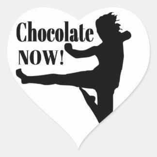 Del chocolate silueta negra ahora - pegatina de corazon