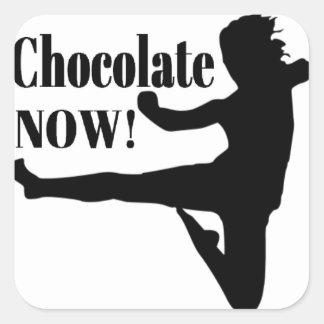 Del chocolate silueta negra ahora - colcomania cuadrada