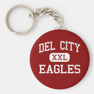 Del City - Eagles - alta - Del City Oklahoma Llavero Redondo Tipo Pin