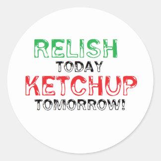 Del condimento salsa de tomate hoy… mañana pegatina redonda