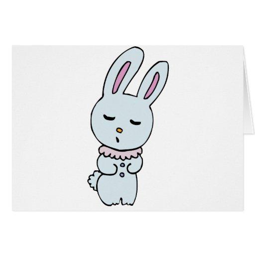 Del conejito azul suavemente coloreado tarjeta de felicitación