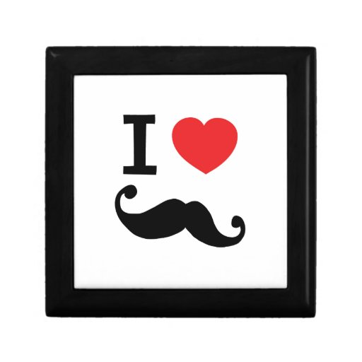 Del corazón I bigote twirly Caja De Joyas