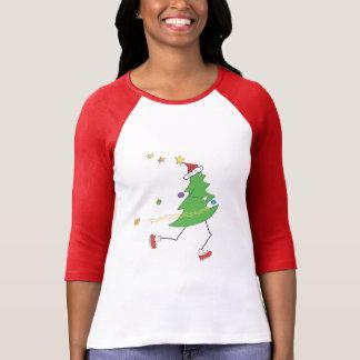 © del corredor del árbol de navidad playera