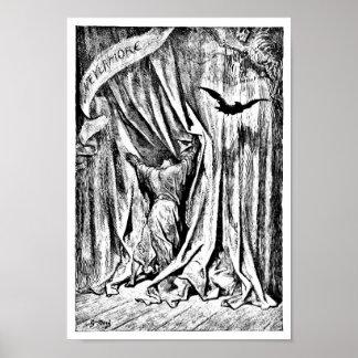 Del cuervo el grabado del ejemplo nunca más poster