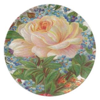 Del cumpleaños color de rosa del vintage madre ros plato de comida