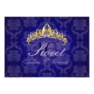 Del damasco 16/invitación azules de la tiara/del
