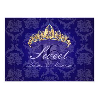 """Del damasco 16/invitación azules de la tiara/del invitación 5"""" x 7"""""""