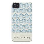 Del damasco azul suavemente iPhone 4 fundas