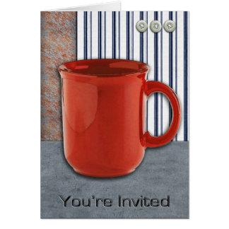 Del descanso para tomar café del botón invitación tarjeta de felicitación