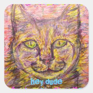 del día soleado del gato tipo ey pegatina cuadrada