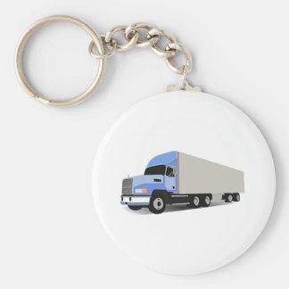 Del dibujo animado camión semi llavero redondo tipo pin