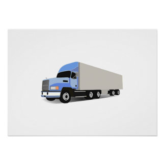 Del dibujo animado camión semi póster