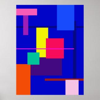 Del diseño azul abstracto geométrico profundamente póster