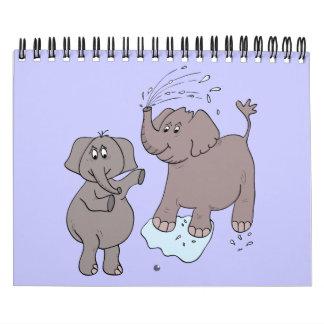 """Del """"elefantes divertidos arte del dibujo animado"""" calendarios"""