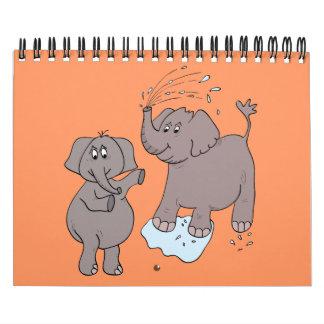"""Del """"elefantes divertidos arte del dibujo animado"""" calendario"""