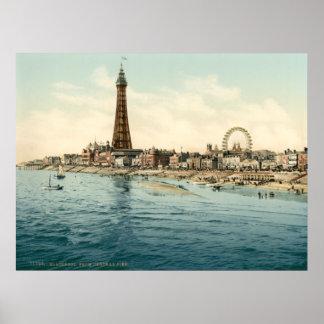 Del embarcadero central, Blackpool, Inglaterra Póster