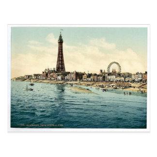 Del embarcadero central, vintage Phot de Blackpool Postales