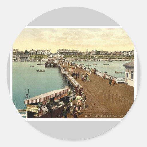 Del embarcadero, vintage Pho del Clacton-en-Mar, Pegatina Redonda