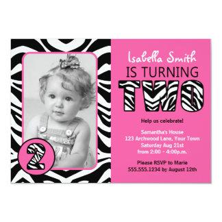 """Del estampado de zebra de los chicas cumpleaños invitación 4.5"""" x 6.25"""""""