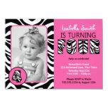 Del estampado de zebra de los chicas cumpleaños invitacion personalizada