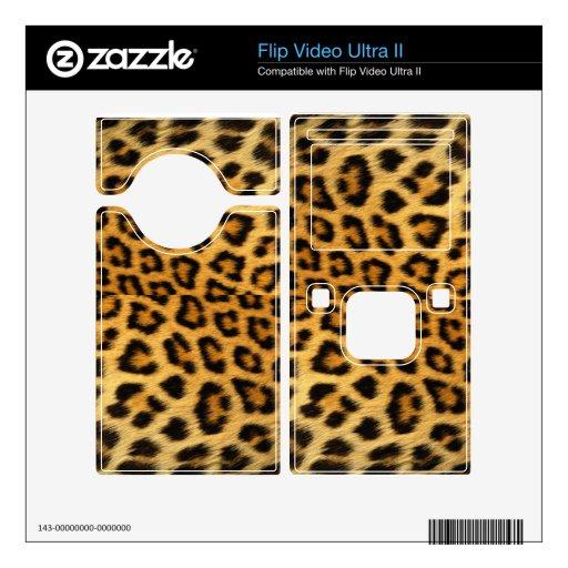 Del estampado leopardo del tirón del vídeo piel ul flip video ultra II calcomanía