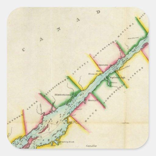 Del este. Extremo de St. Lorenzo del lago Ontario Calcomanías Cuadradas Personalizadas